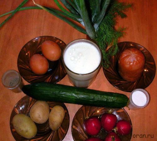 Набор продуктов для окрошки