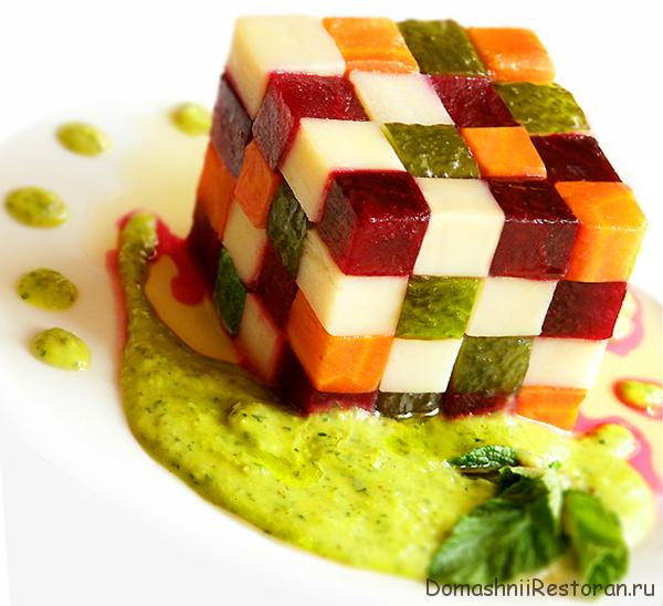 Украшение винегрета кубик рубика