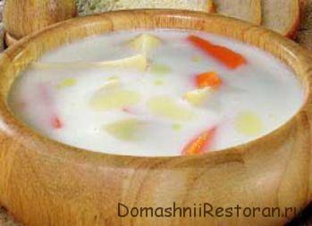 Суп молочный с крупой и морковью