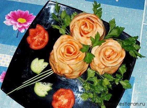готовое блюдо розовый букет