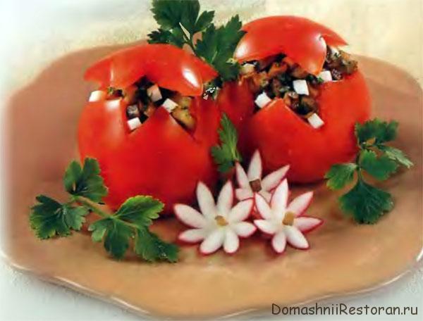 оформление фаршированных помидоров