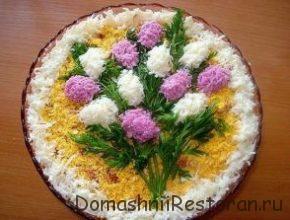оформление салата сирень