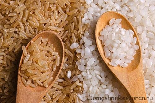 рис белый и коричневый