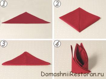 Способы складывания салфеток 1-10. Пошаговые фото