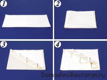 Способы складывания салфеток 11-20, пошаговые фото