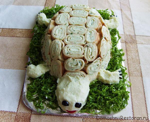 украшение салата или паштета - черепаха