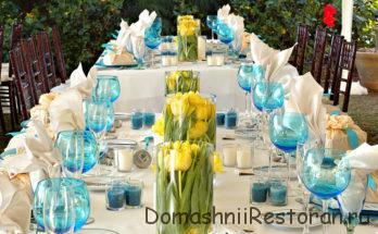 украшение стола цветами