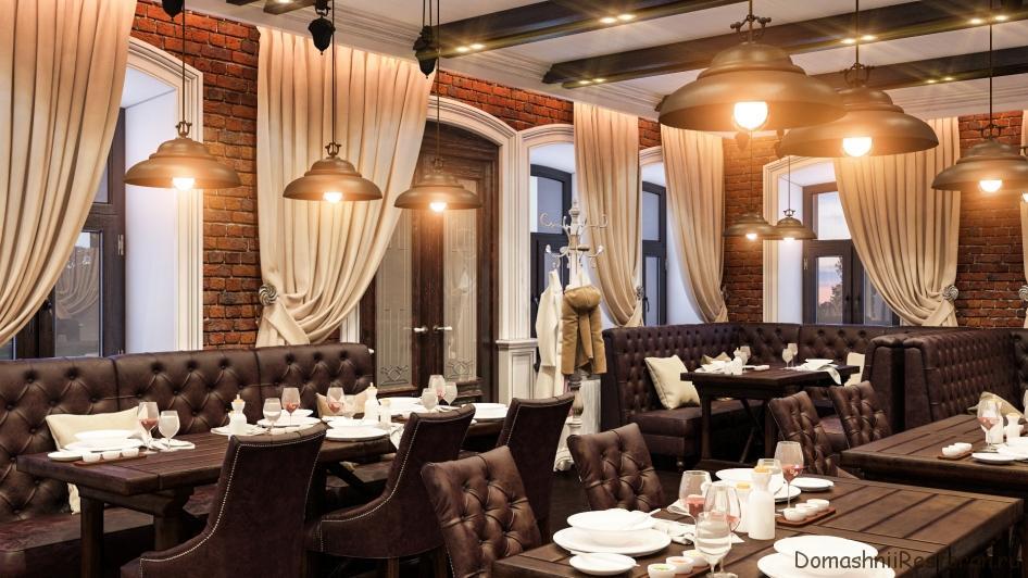 зал ресторана в коричневых тонах