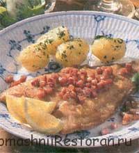 Камбала с картофелем и фасолью