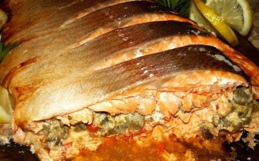 Рыба, фаршированная грибами