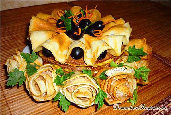 Блинно-печеночный закусочный тортик на кефире