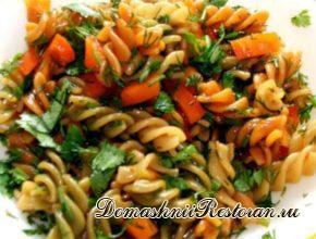 Макароны с вешенками и морковью