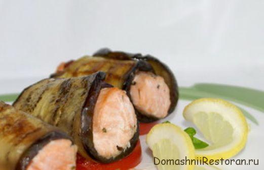 Рулеты из баклажана с рыбой