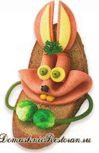 Изготовление бутерброда «Зайка»