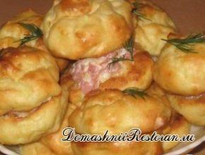 Картофельные профитроли с сырно-ветчинной начинкой