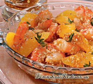 Салат с апельсинами и креветками