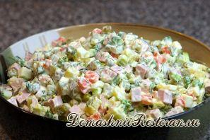 Самый распространённый рецепт салата «Оливье»