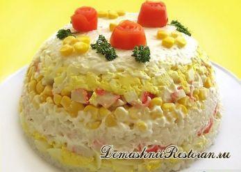 Торт-салат ( по мотивам салата с крабовыми палочками)