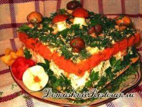 Закусочный торт «Грибная полянка»