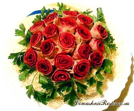Салат «Букет из роз» (3 варианта украшения)