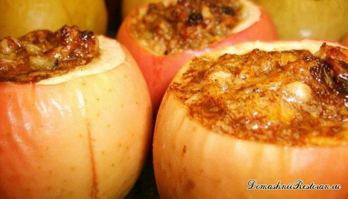 Яблоки, запеченные с сыром и изюмом