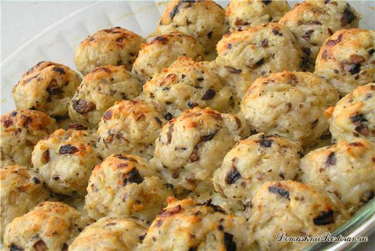 Картофельные тефтели с грибами