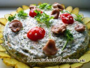 Постный закусочный блинный торт «Грибная поляна»