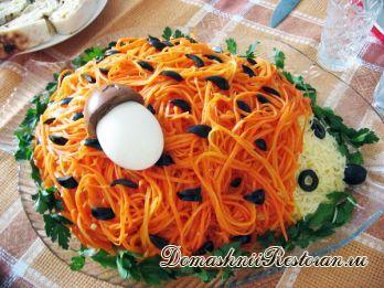 """Салат """"Ёжик"""" с корейской морковью"""