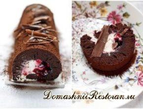 """Шоколадный рулет по мотивам торта """"Черный лес"""""""