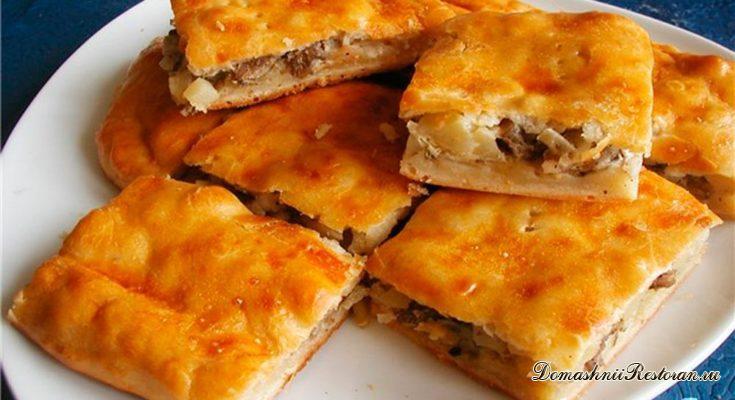 Слоёный пирог с мясом и картофелем