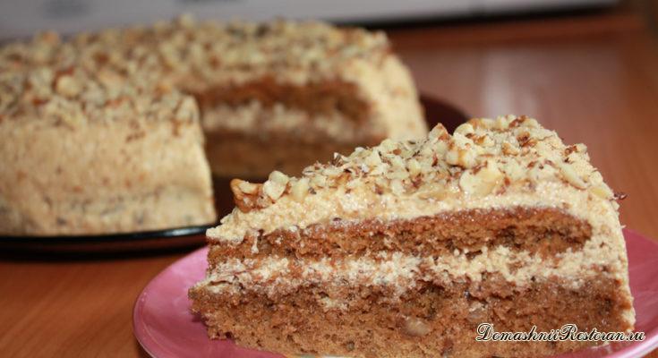 Торт кофейно-ореховый с масляным кремом