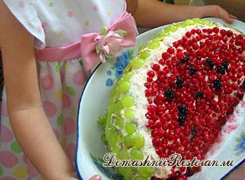 Торт «Долька арбуза» в пошаговыми фото