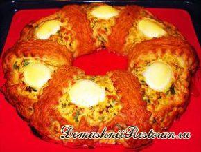 Закусочный куриный торт-паштет «Рождественское кольцо»