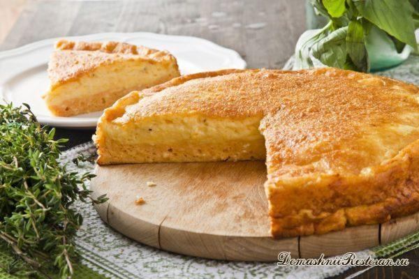 Творожно-сырный пирог на скорую руку