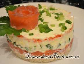 Салат с сёмгой и сыром