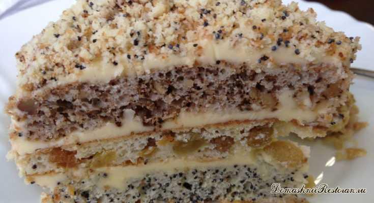 торт клеопатра с орехами, изюмом и маком
