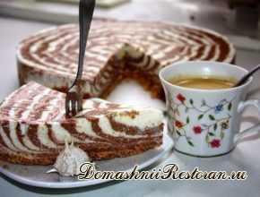 творожный торт без выпечки зебра