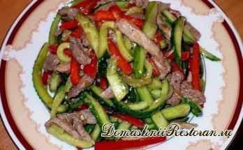 Салат из огурцов и мяса