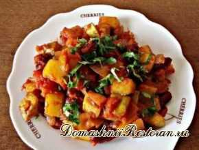 Рагу из кабачков, фасоли и помидоров