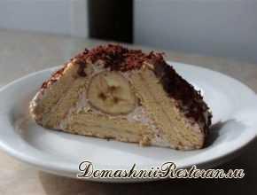 """Торт - """"Творожный домик"""" с бананом"""