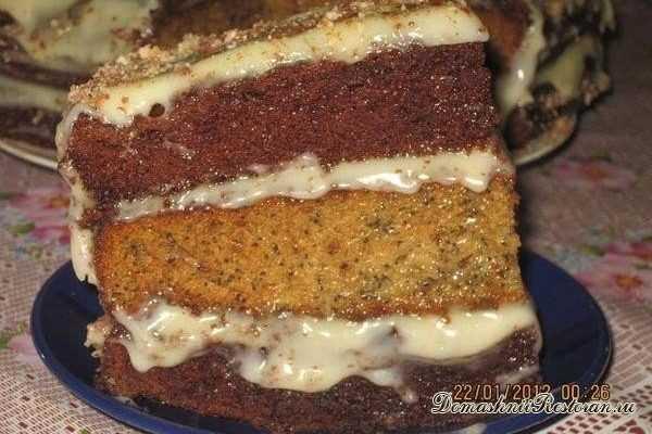 Трехслойный торт на сковороде