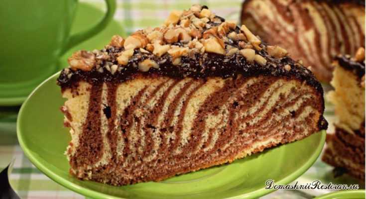 Вкусный пирог к чаю Зебра