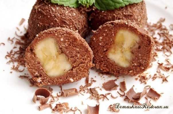 Шоколадно- творожный десерт с бананом