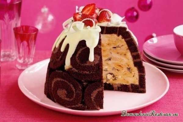 Торт- мороженое с шоколадным рулетом