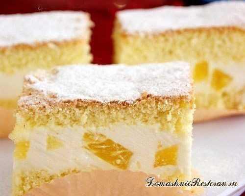 Торт с творожным кремом и ананасами