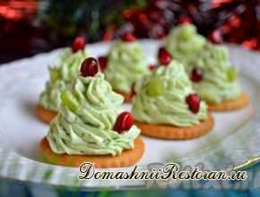 Новогодняя закуска Елочки из творожного сыра