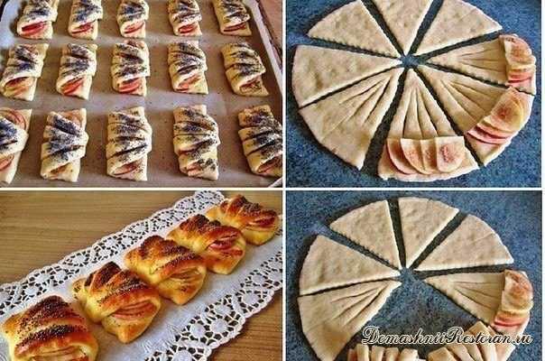 """Рецепт приготовления сладкой выпечки """"Конвертики с яблоками из творожного теста"""""""