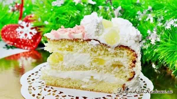 Торт «Пина Колада». Очень красивый и вкусный бисквитный торт