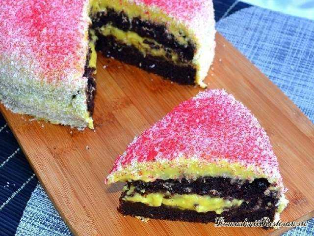 Шоколадный торт с кокосово-банановым кремом. Вкусно, ароматно и оригинально