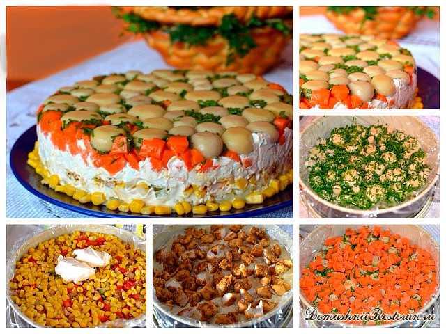 Торт-Салат с курицей и грибами 🍄